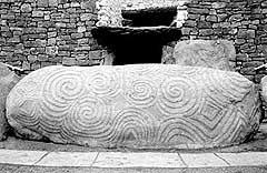 Photograph of the carved entrance stone at Newgrange, County Meath