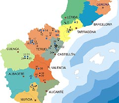 Map of hte Spanish Levantine art area treated in EuroPreArt